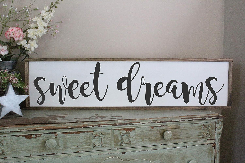 Sweet Dreams Wall Art//Hand Painted Sign//Farmhouse Decor//Wall Decor//Home Decor//Modern Artwork//Large Framed Artwork