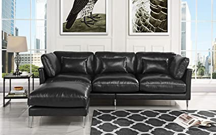 Amazon.com: Modern Leather Sectional Sofa, L Shape Couch (Black ...