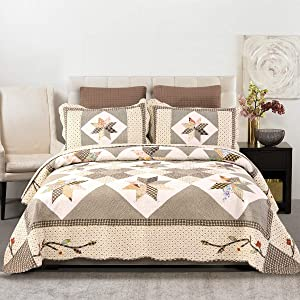 YAYIDAY Cotton Patchwork Bedspread Quilt Set Queen/Full Size - Breathable Floral Quilted Blanket with Shams, Hypoallergenic Summer Bedding Modern Coverlet Q