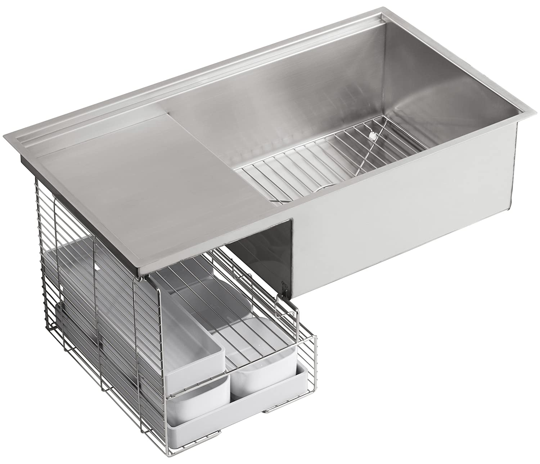 kohler k3760na stages 33inch stainless steel kitchen sink single bowl sinks amazoncom