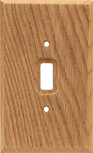 Pack of 2 Medium Oak Brainerd 64672 Wood Square Single Toggle Switch Wall Plate//Switch Plate//Cover