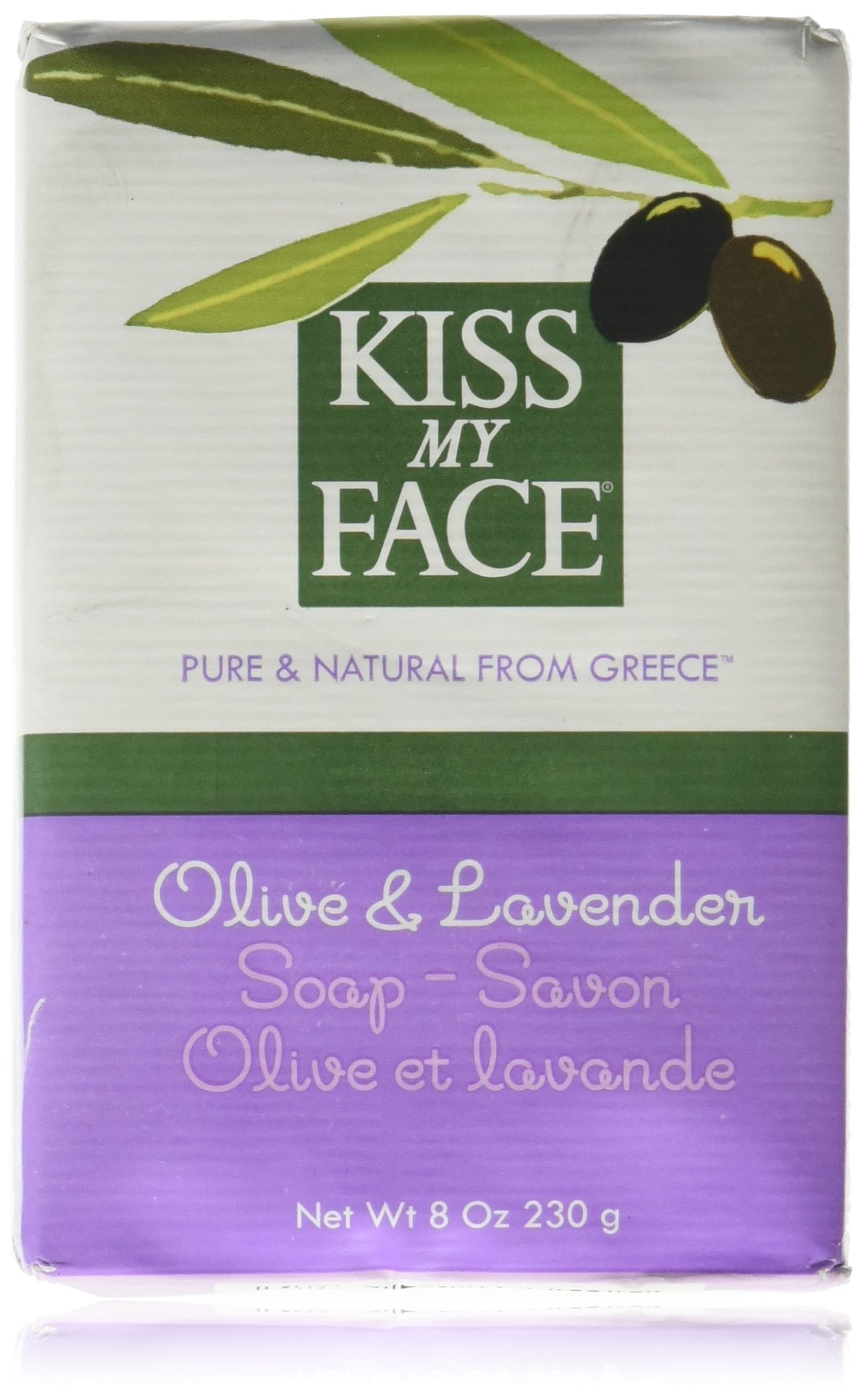 Kiss My Face Moisturizing Bar Soap for All Skin Types - Olive & Lavender - 8 oz