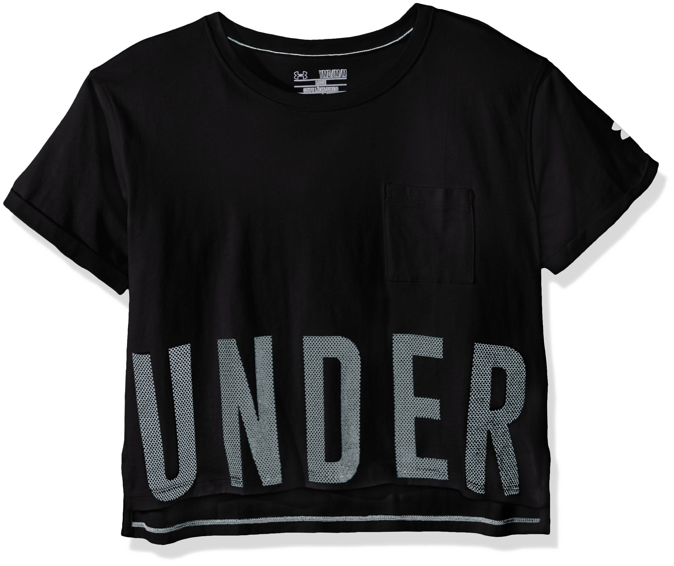 Under Armour Girls' Studio Short Sleeve T-Shirt, Black /White, Youth X-Large by Under Armour