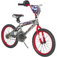 Mattel Hot Wheels Dynacraft Bicicleta para niños con empuñadura Rev, Plateado/Rojo, 18 Pulgadas