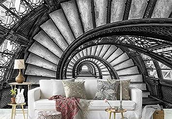 Papel Tapiz Fotomural - Escalera De Caracol De Edad - Tema Arquitectura - XL - 368cm x 254cm (an. x alto) - 4 Tiras - impreso en papel 130g/m2 EasyInstall - 1X-1198169V8: Amazon.es: Bricolaje y herramientas