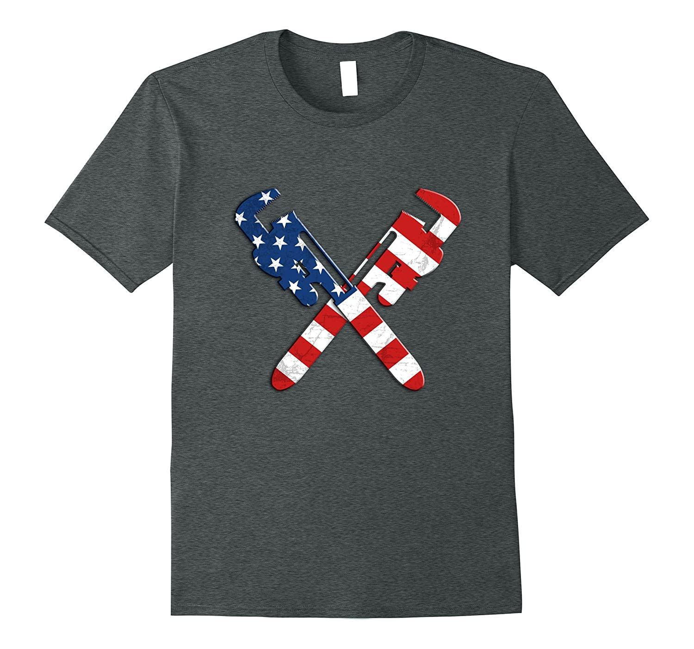 Patriotic US Flag Plumbing TShirt: Pipe Wrenches-Teevkd