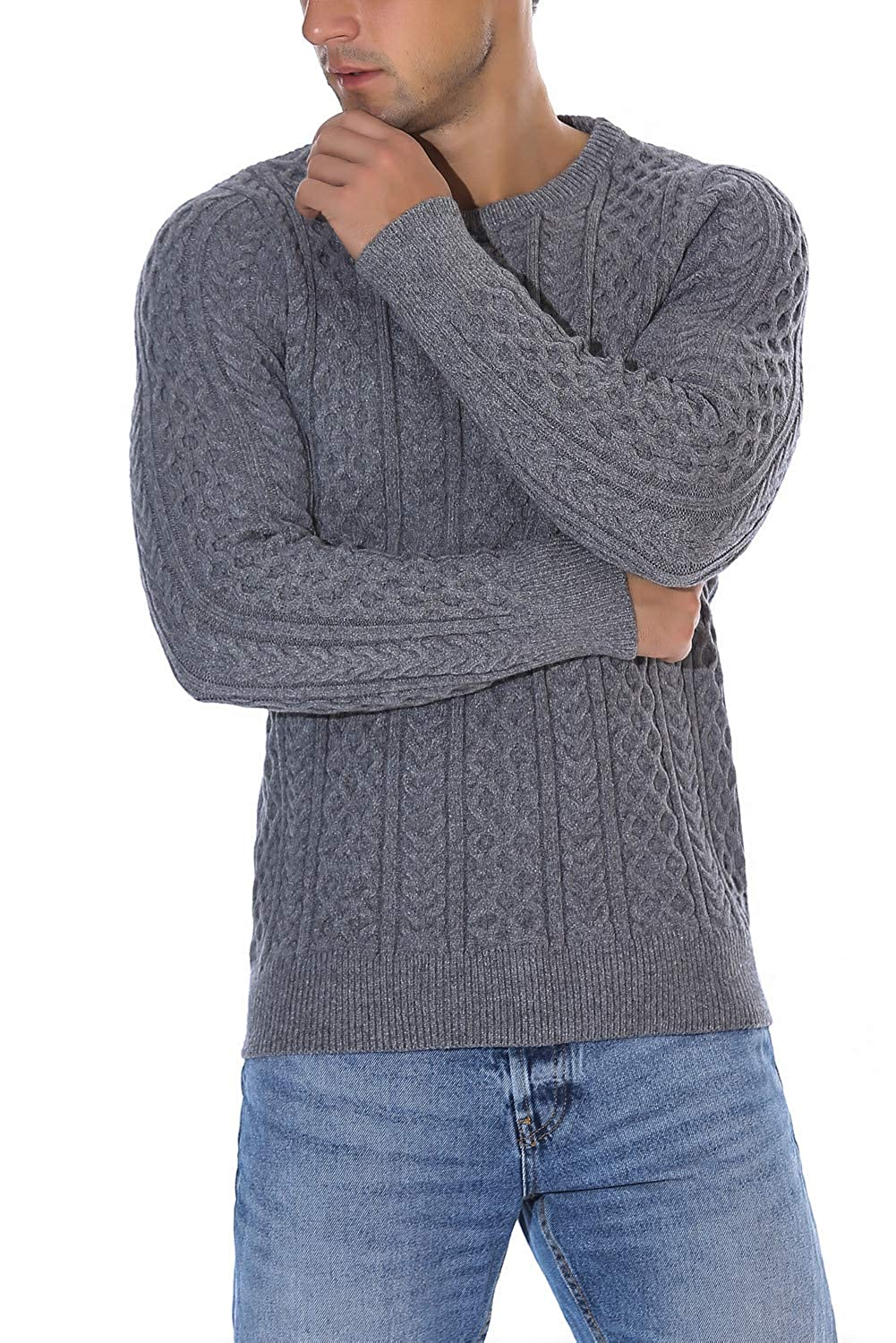 Rocorose Men's Cable Knit Long Sleeves Crewneck Sweater RR8031