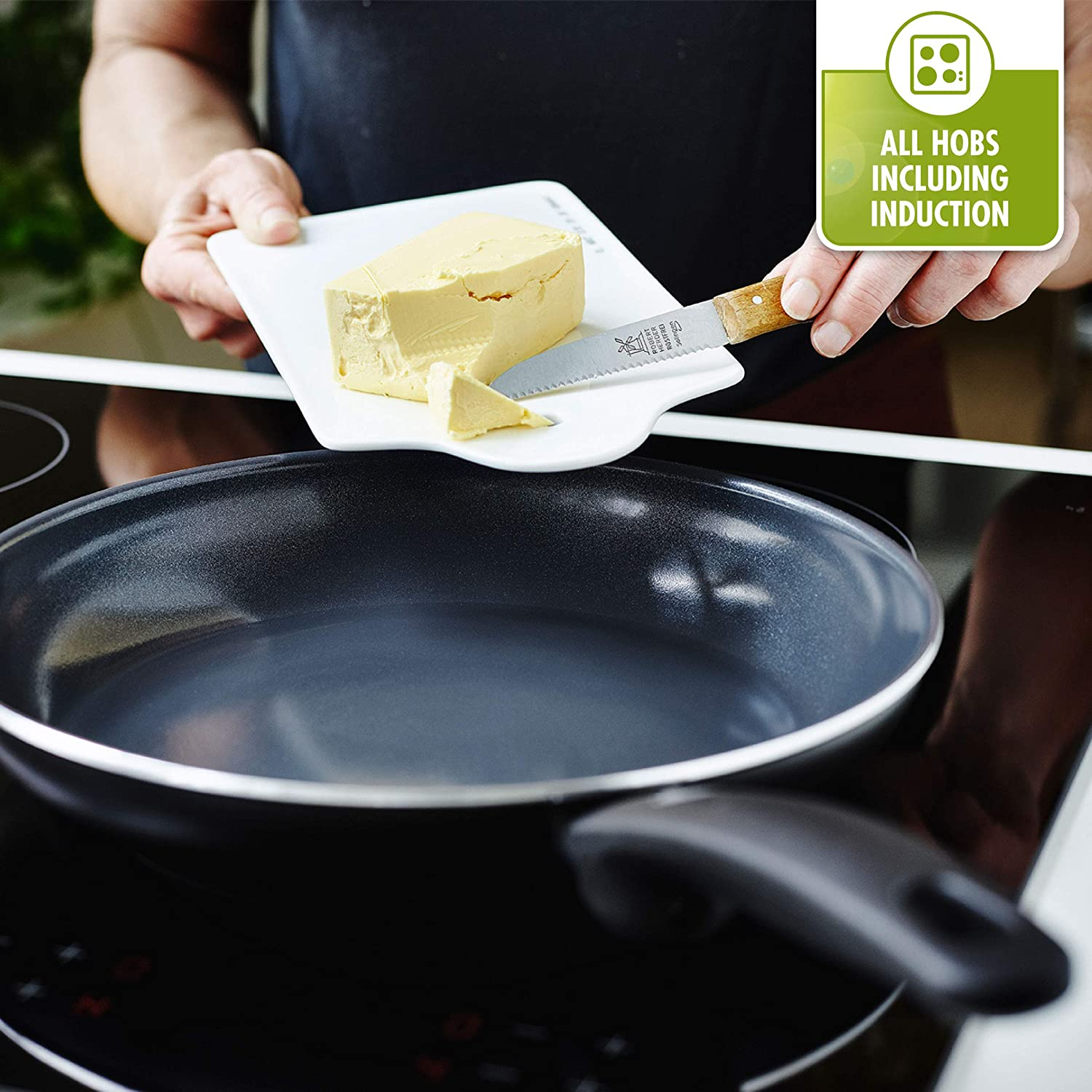 GreenPan Cambridge Infinity Cerámica Antiadherente Wok, Negro: Amazon.es: Hogar