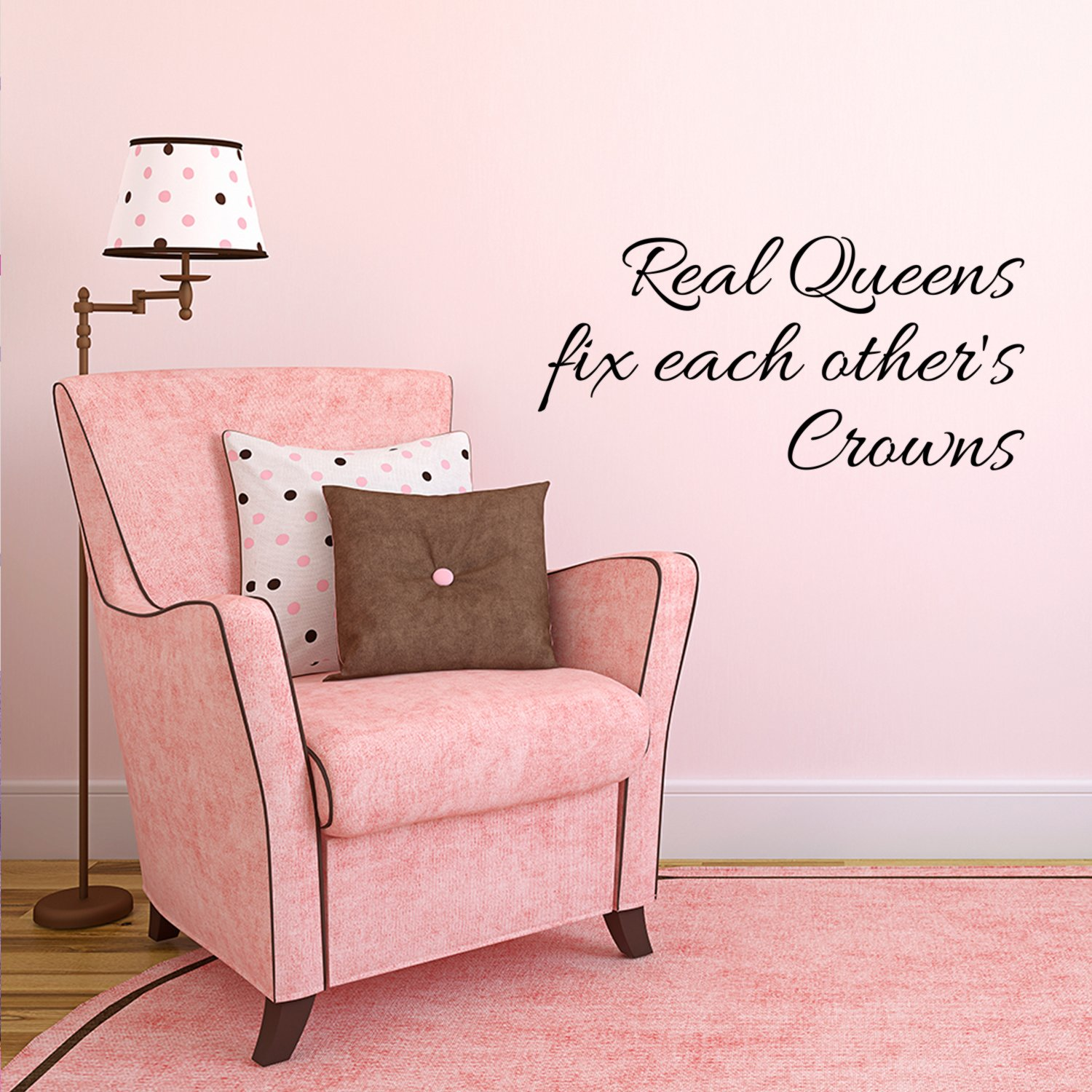 Real Queens Fix Each Others Crowns - Women's Inspirational Quotes Wall Art Vinyl Decal - 11'' X 22'' Decoration Vinyl Stickers - Motivational Wall Decal - Bedroom Living Room Decor - Trendy Wall Art