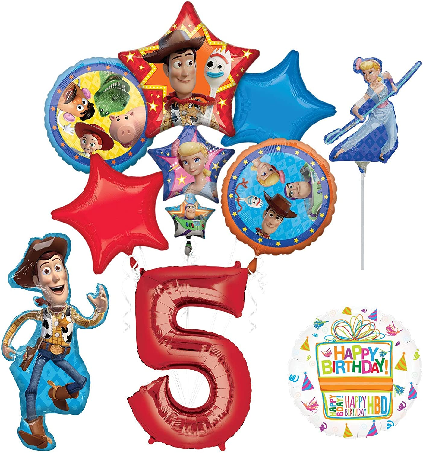 Mayflower Products Toy Story Party Supplies Woody Buzz Lightyear and Friends 6th Birthday Balloon Bouquet Decorations