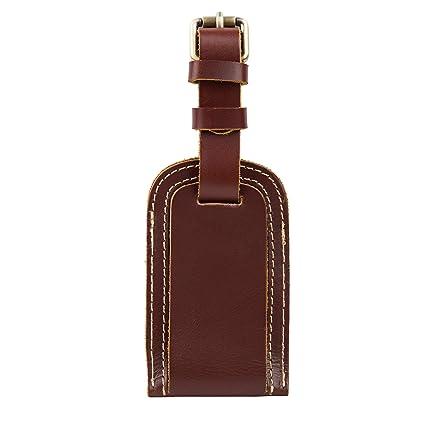 4b3a3c83c3fb Amazon.com | Genuine Leather Luggage Tag Travel Flight Bag ID Label ...