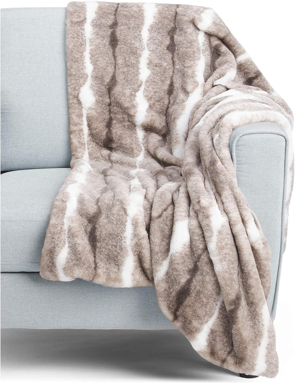 Kensie Faux Fur Throw Blanket in Gift Box Classic Beige Tan Cream Pattern