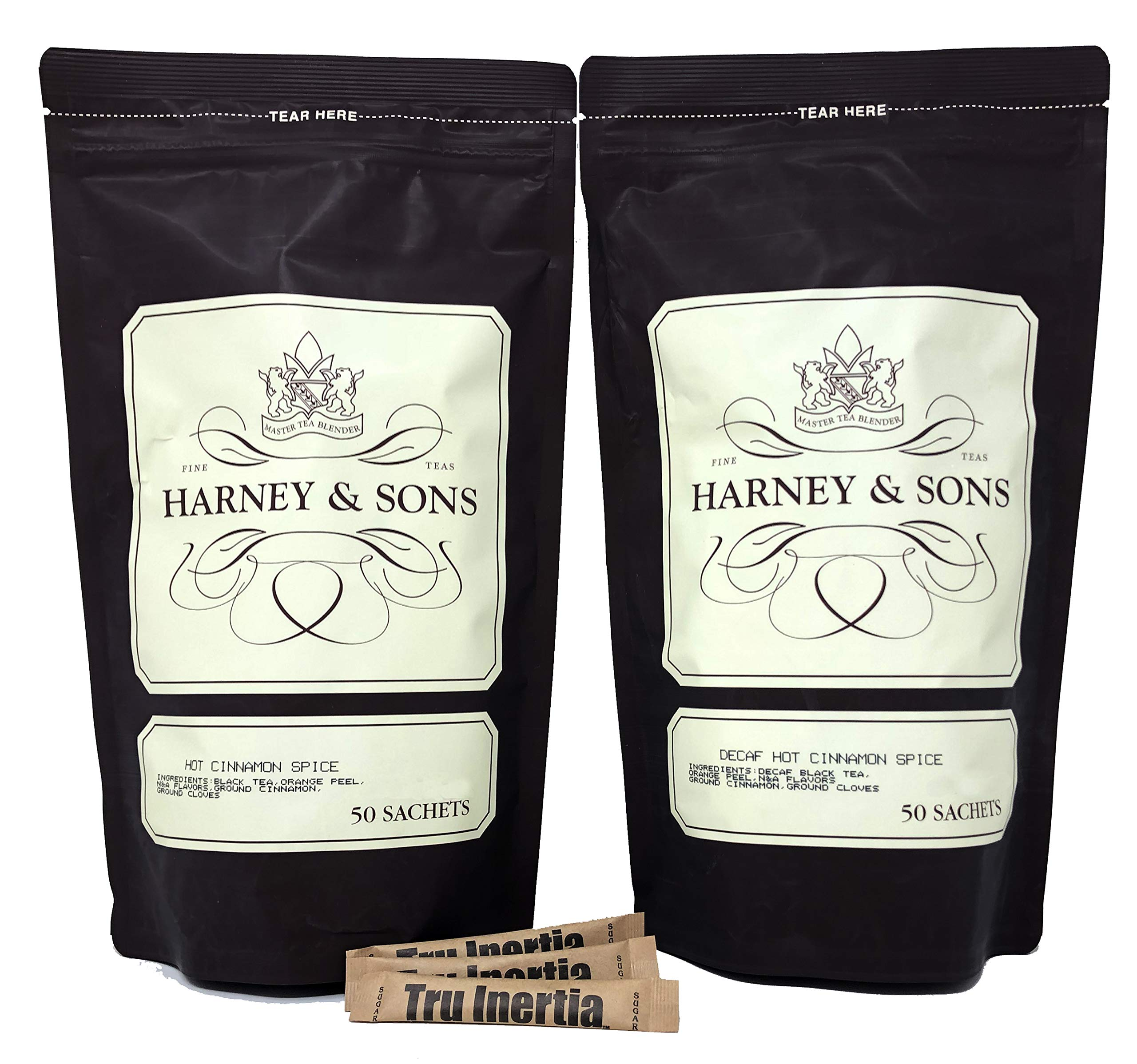 Harney & Sons Hot Cinnamon and Decaf Hot Cinnamon 50 Count Tea Sachet Bags 2 Pack - 1 Bags of 50 Sachets of Each Tea - With 3 Tru Inertia Raw Cane Sugar Tubes