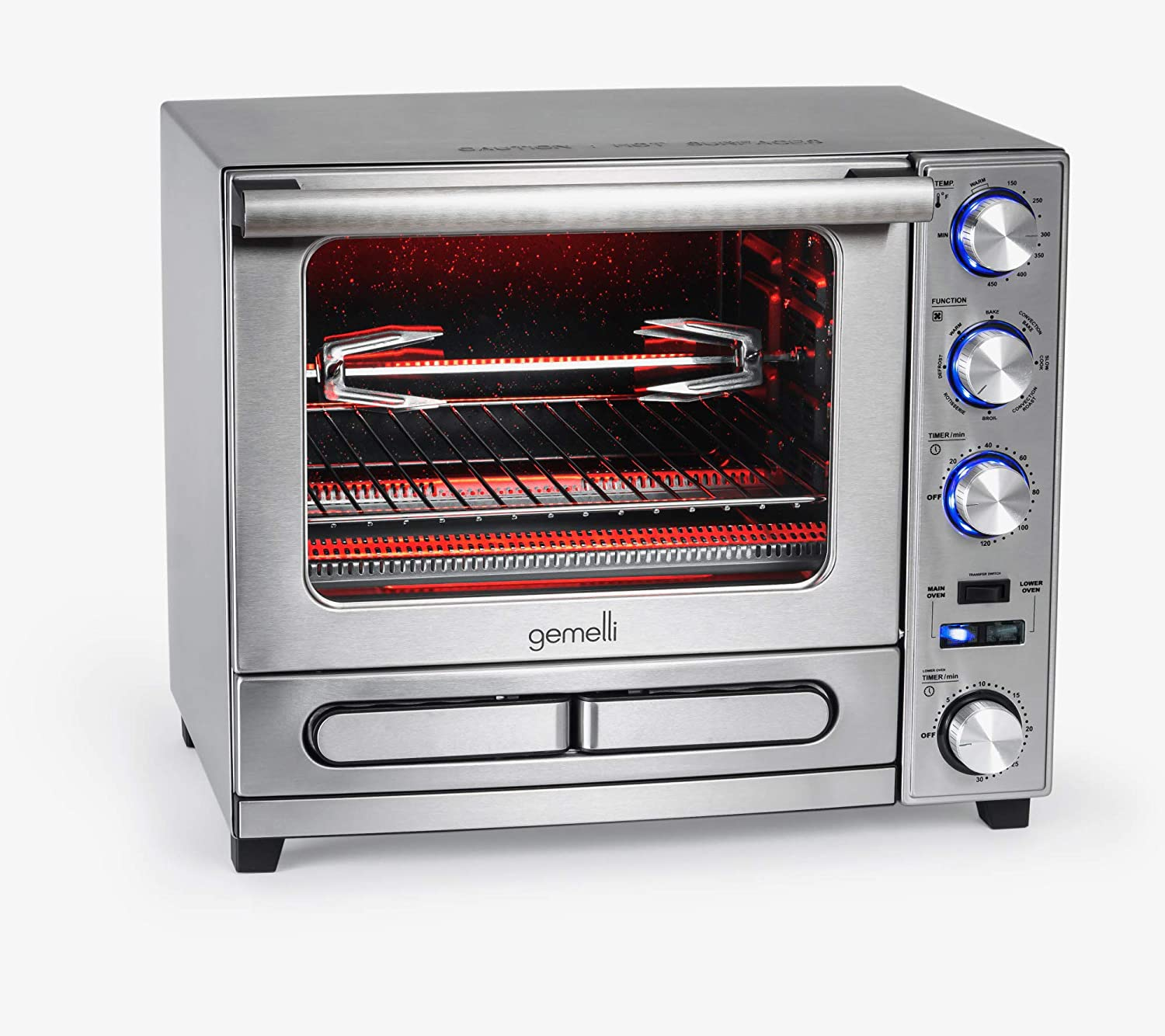 The Gemelli Twin Oven, Convection Oven with Built-In Pizza Drawer and Rotisserie, Countertop Sized, Stainless Steel Finish