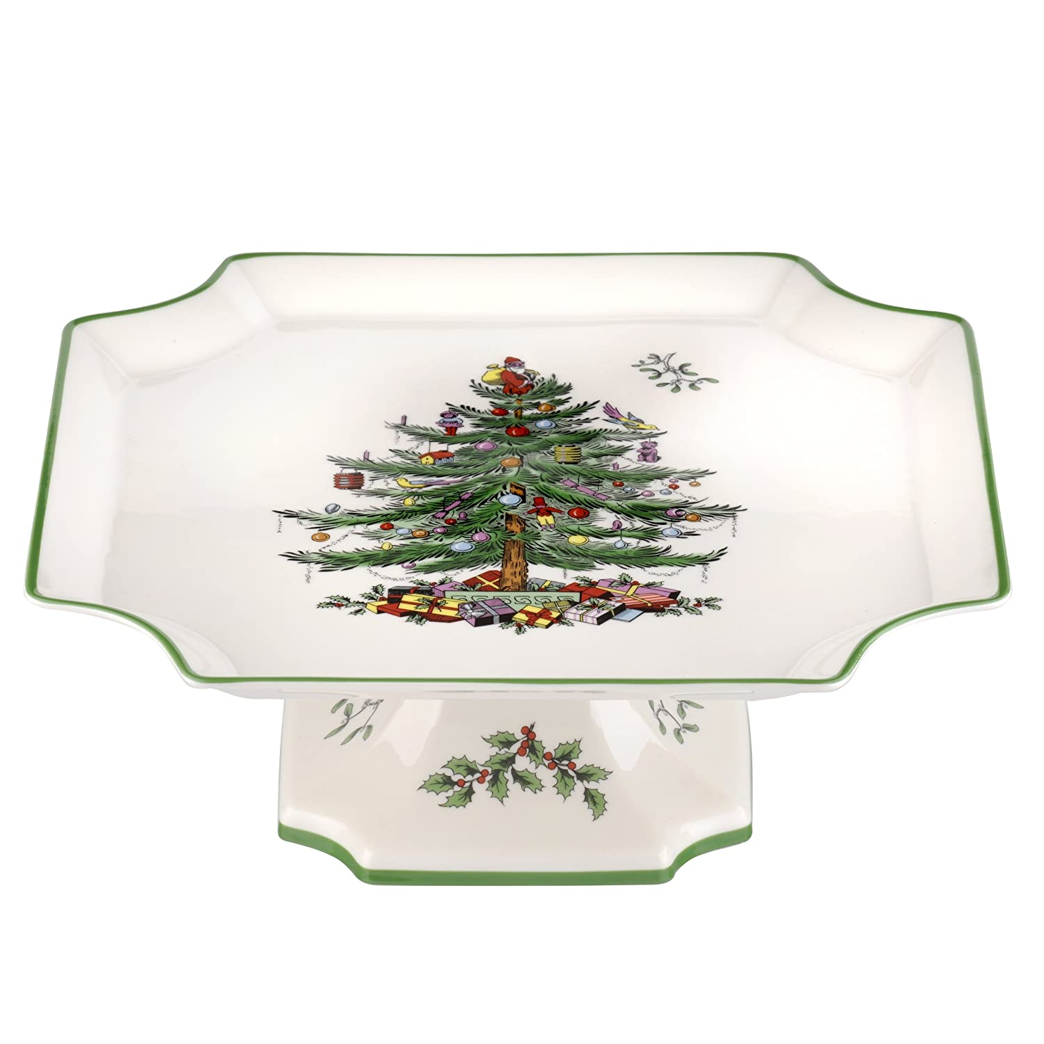 Amazon.com | Spode Christmas Tree Footed Square Cake Plate 10-Inch Dessert Plates Dessert Plates  sc 1 st  Amazon.com & Amazon.com | Spode Christmas Tree Footed Square Cake Plate 10-Inch ...