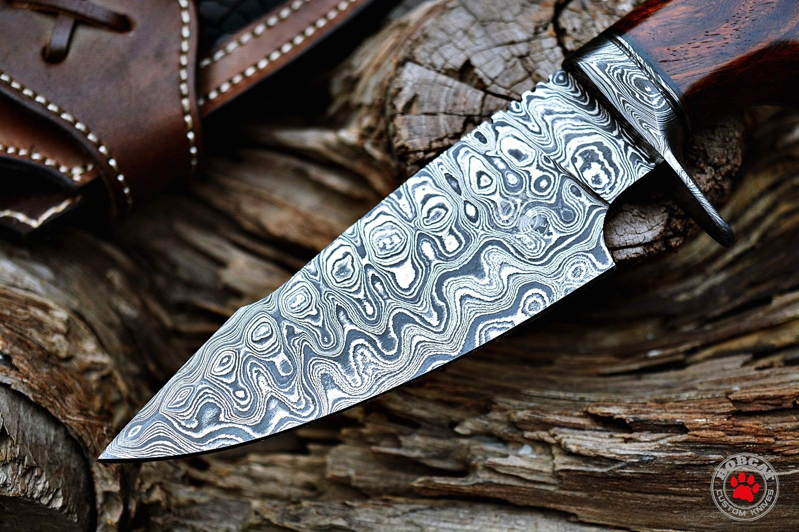 Custom Handmade Hunting Knife Bowie Knife Damascus Steel Survival Knife EDC 10'' Overall Walnut Wood with Sheath by Bobcat Knives (Image #9)