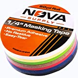Premium 7 Color Value Pack of 1/4in x 60yd Adhesive Masking Tape. Use in Arts and Crafts Projects, Painting, Labeling or for Home and Classroom Decorating. Organize and Color Code Folders and