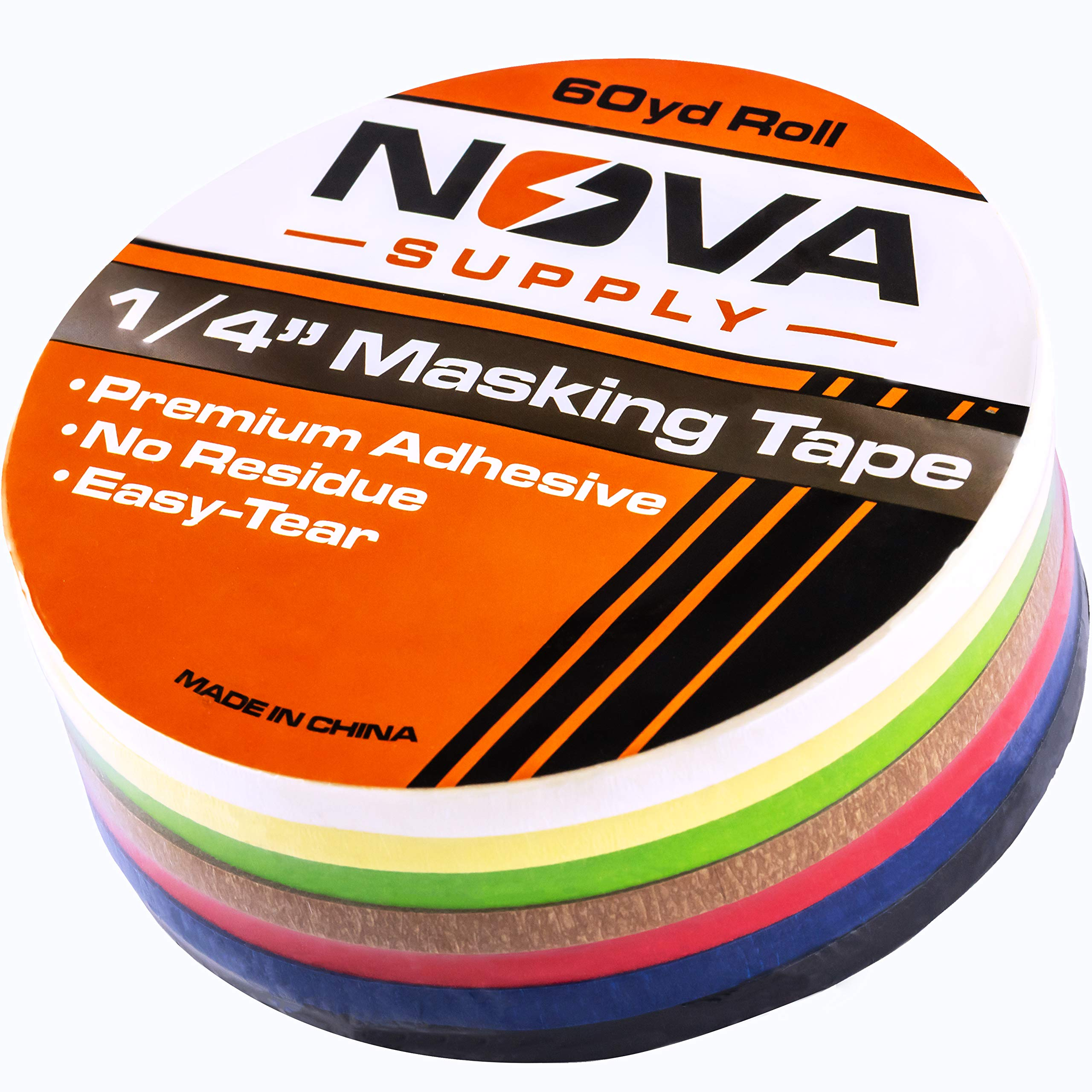 Premium 7 Color Value Pack of 1/4in x 60yd Adhesive Masking Tape. Use in Arts and Crafts Projects, Painting, Labeling or for Home and Classroom Decorating. Organize and Color Code Folders and Boxes. by Nova Supply Co