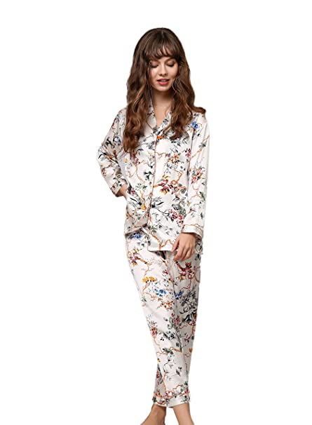 7fc04eff068e CLC Women s Pure Mulberry Silk Pajama Set Printed Sleep Sets at Amazon  Women s Clothing store