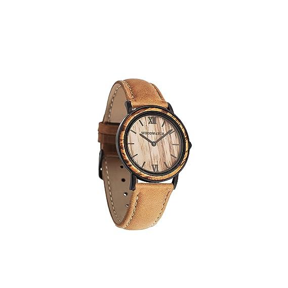 Madera Reloj mujer hombre | Striped Zebra Caqui Petite | Relojes de madera natural | la