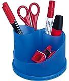 Wedo - Lapicero de escritorio (6 compartimentos, plástico traslúcido), color azul