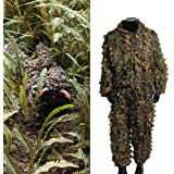 OUTERDO Camo Suits Ghillie Suits 3D Leaves Woodland Camouflage Clothing Army Sniper Military Clothes and Pants for Jungle Hunting,Shooting, Airsoft,Wildlife Photography,Halloween or Christmas Gifts