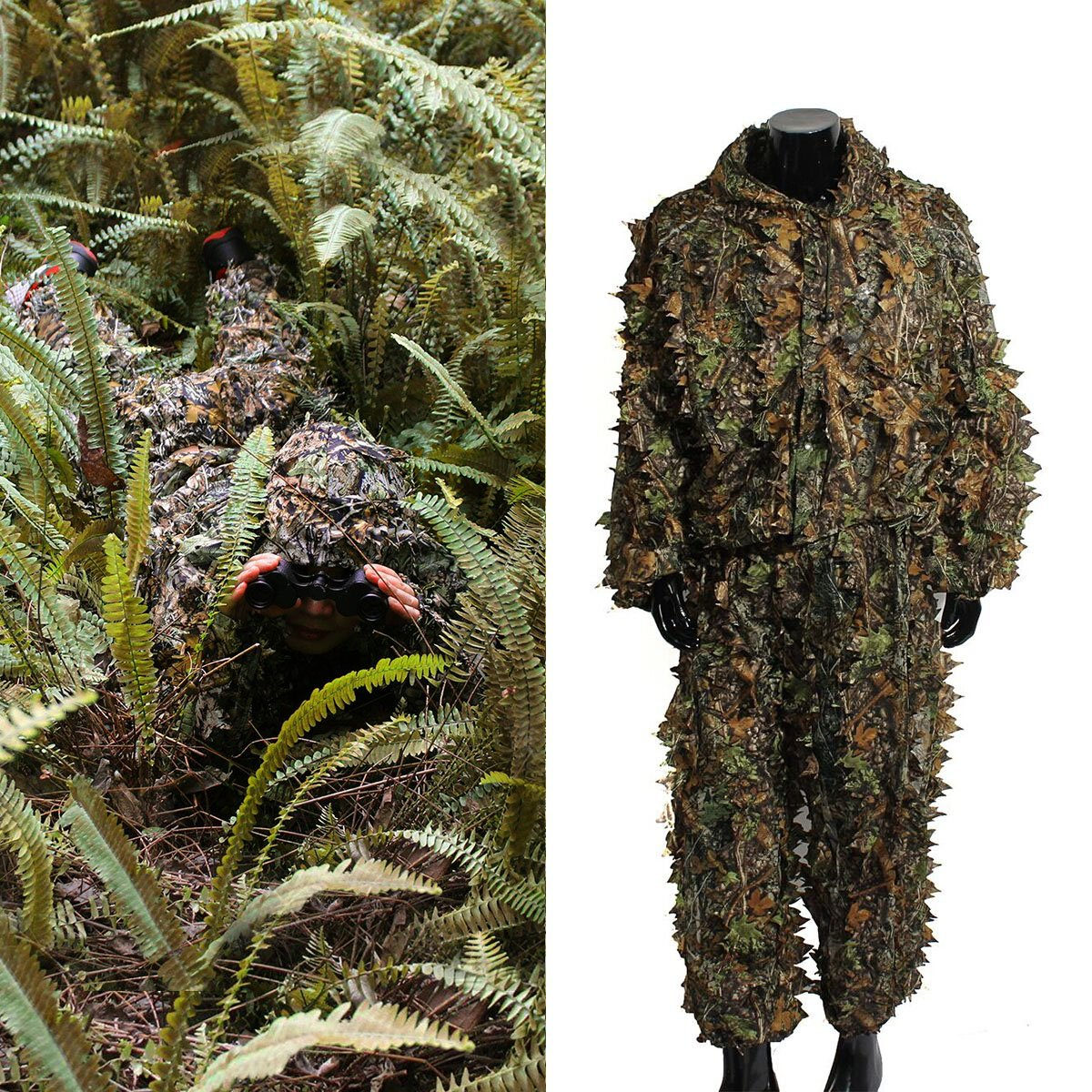 Ghillie Suit, OUTERDO Camo Suit Woodland and Forest Design Militare Foglia Caccia e tiro Accessori Tattico Abbigliamento mimetico Taglie gratis per Airsoft, Fotografia naturalistica di Halloween o Nat