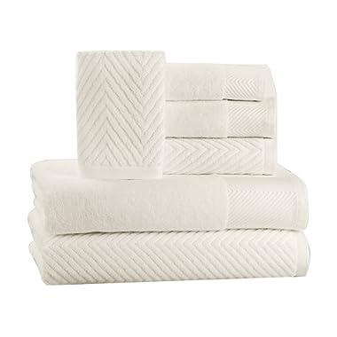 6 Piece Premium Cotton Bath Towels Set - 2 Bath Towels, 2 Hand Towels, 2 Washcloths Machine Washable Super Absorbent Hotel Spa Quality Luxury Towel Gift Sets Chevron Towel Set - Ivory