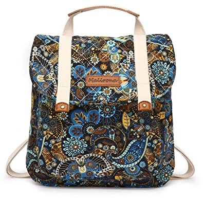 9f26d4a5f0 Amazon.com  Malirona Women Backpack Purse Convertible Rucksack Backpack for  Teen Girls Floral Backpack Purse Canvas (Black Flowers)  Shoes