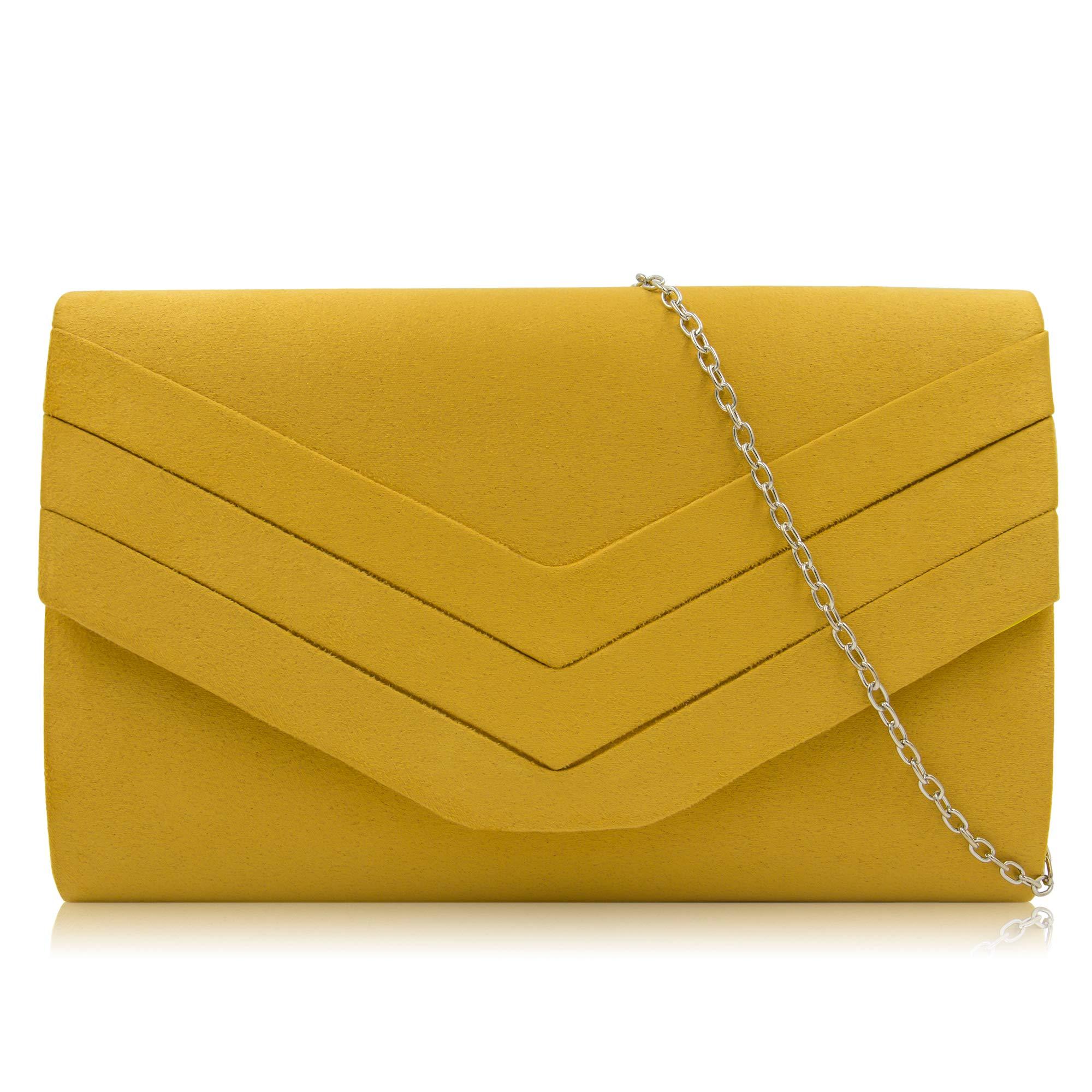 Milisente Women Clutches Velvet Evenlope Evening Bag Classic Clutch Purse (Banana Yellow)