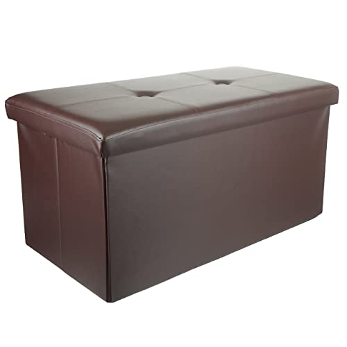 Unity Signature Foldable Double Storage Ottoman, 30 x15 x15 – Strong Sturdy – Space Saving – Premium Faux Leather Brown