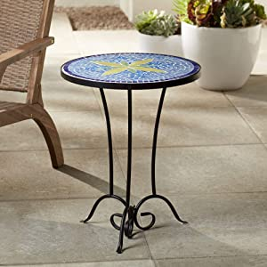 Teal Island Designs Blue Flower Mosaic Outdoor Accent Table