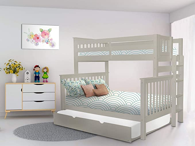Bedz King - Litera Doble con Escalera y Cama Nido Completa, Color Gris: Amazon.es: Hogar