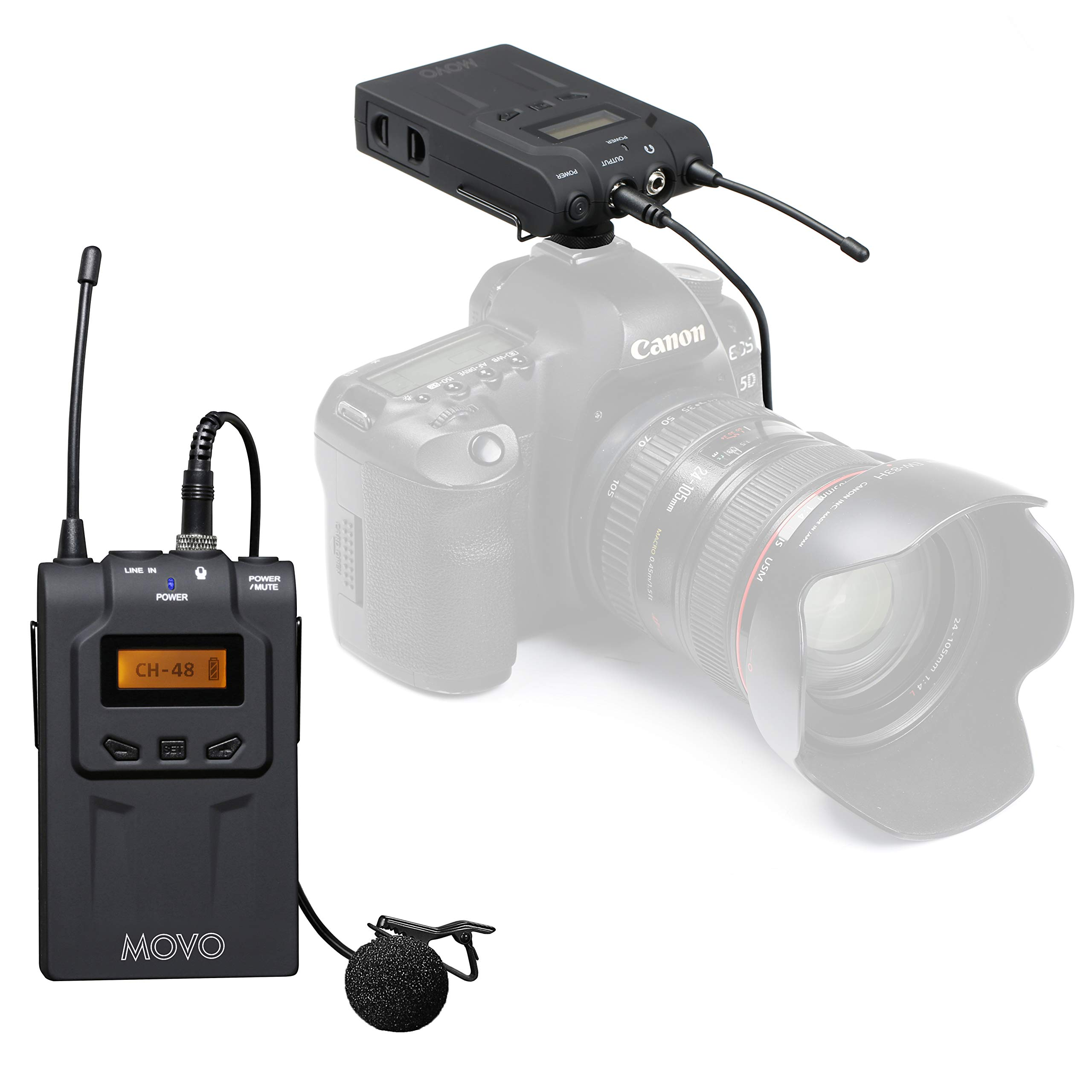 Movo Wireless UHF Lavalier Microphone System for Nikon D850, D810, D800, D750, D610, D600, D500, D7500, D7200, D7100, D5600, D5500, D5300, D5200, D3400, D3300, D3200, D4, D5 DSLR Cameras by Movo