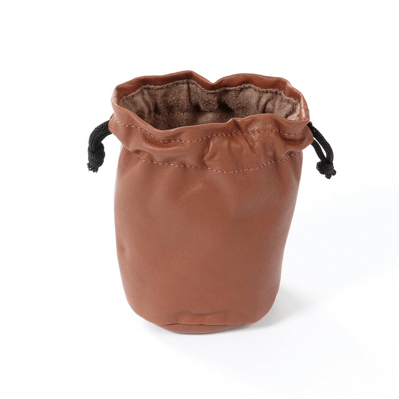 Small Cognac Leather Drawstring Bag