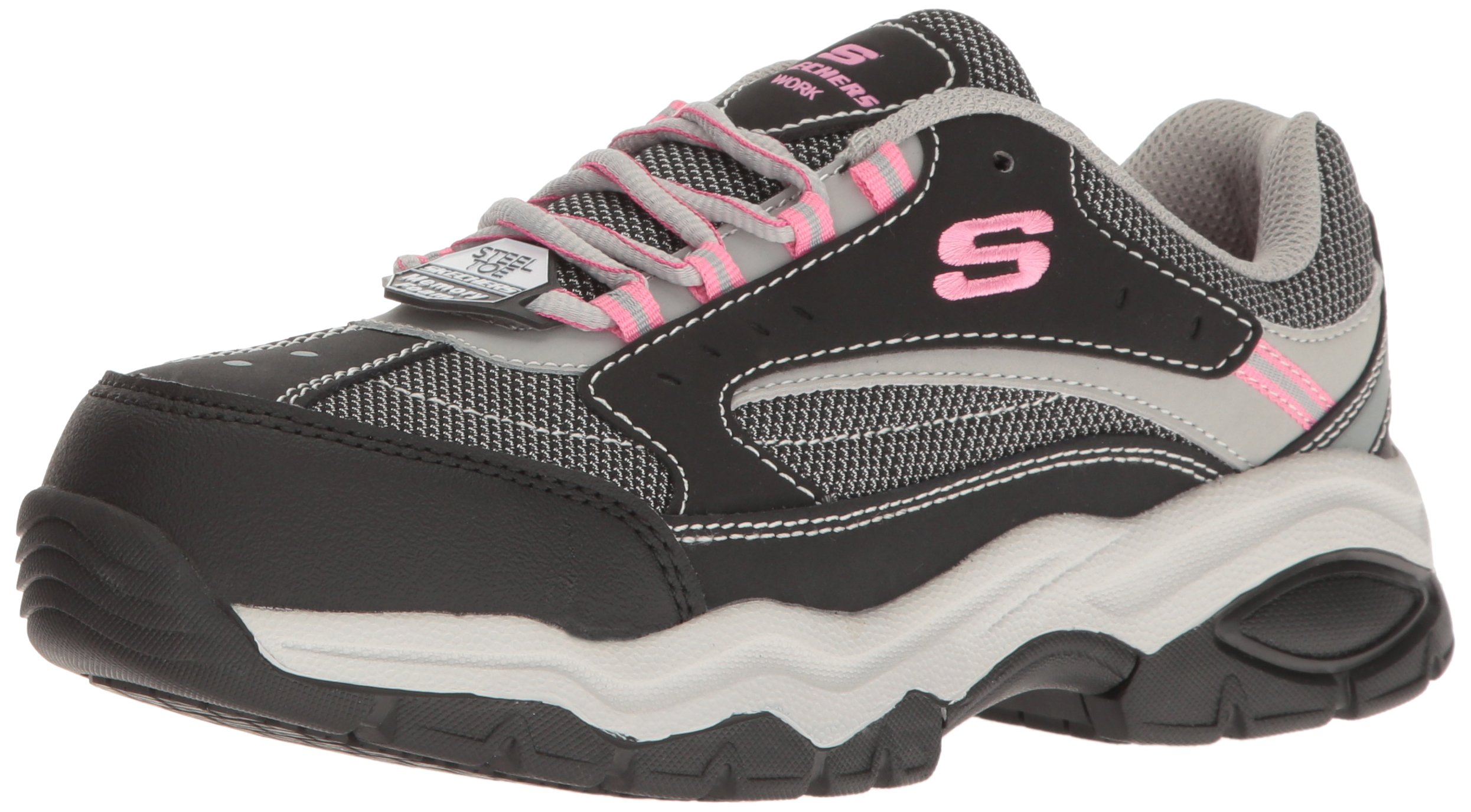 Skechers for Work Women's BISCO Work Shoe, Black/Gray, 8.5 M US