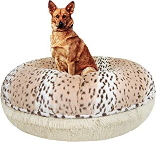 product image for BESSIE AND BARNIE Signature Aspen Snow Leopard/ Blondie Luxury Shag Extra Plush Faux Fur Bagel Pet/Dog Bed (Multiple Sizes)