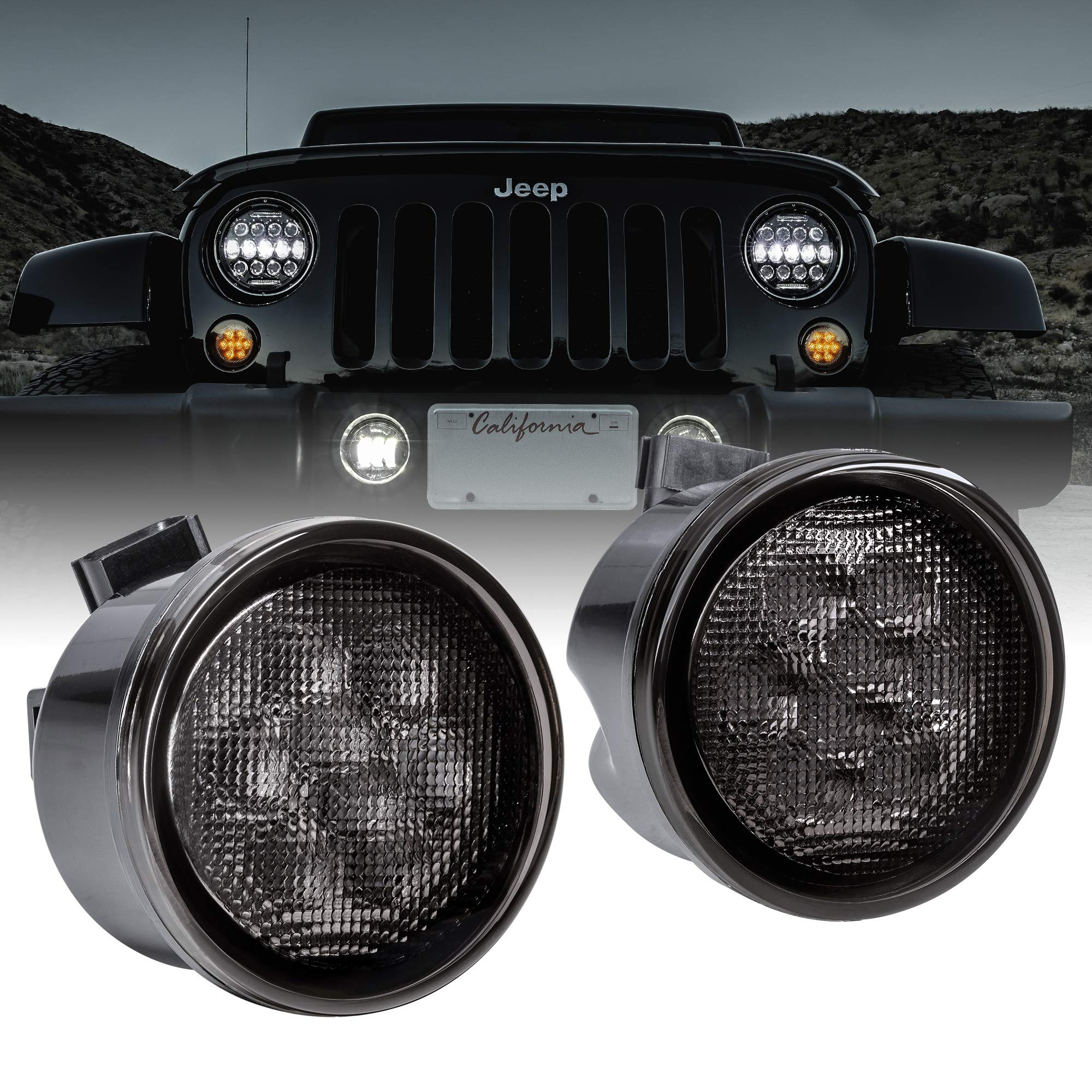 LED Turn Signal Lights Replacement for Jeep [Smoked Lens] [Amber Color] [DRL] Turn signal Running Lights Compatible with Jeep Wrangler JK Unlimited 2007-2018 Accessories