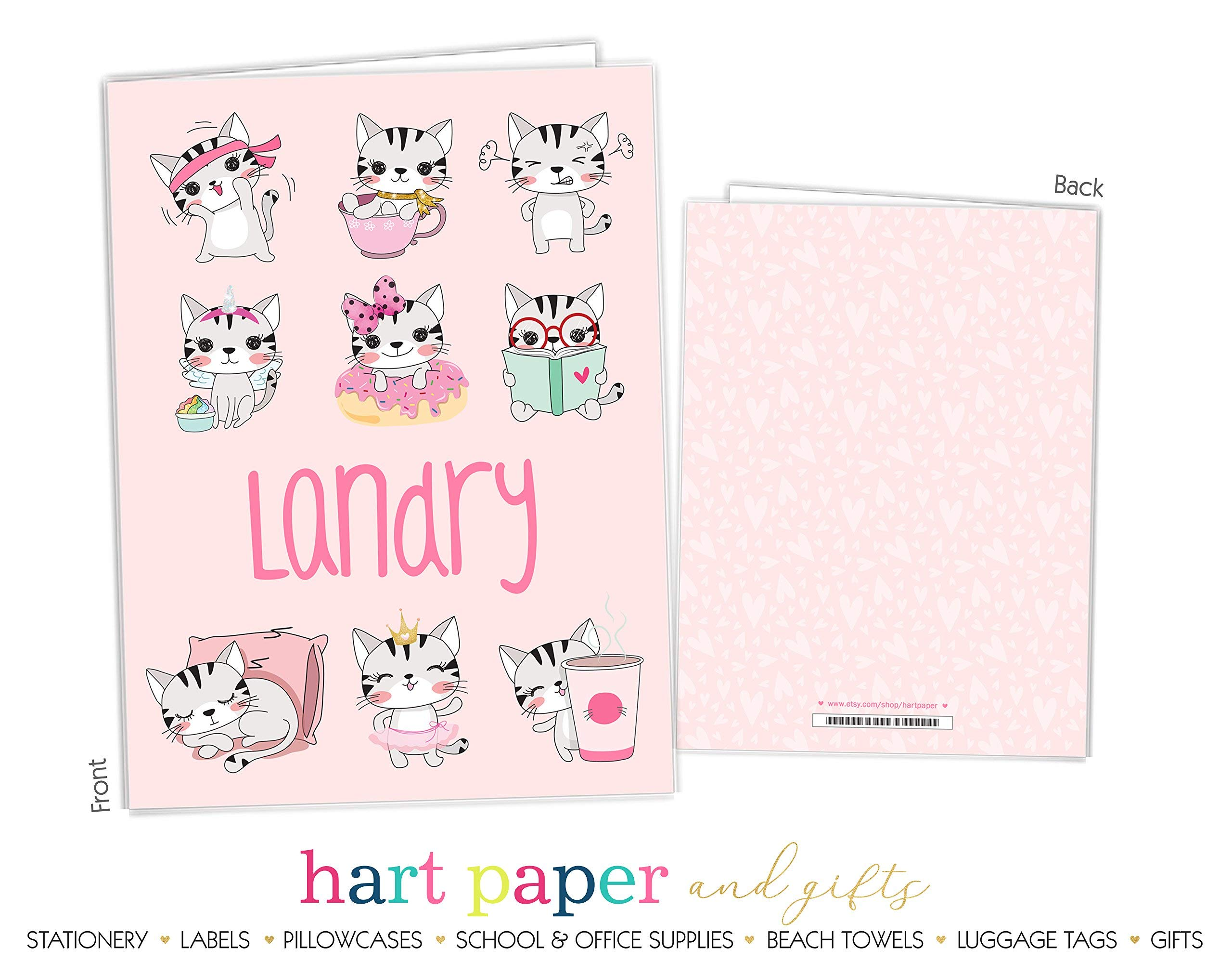 Cat Kitten Pink Hearts 2 Pocket Folder Gift Name Back to School Supplies Teacher Office Birthday Girl Kids Custom Personalized Custom by Hart Paper