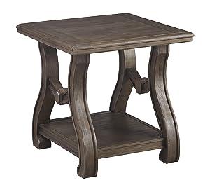 Ashley Furniture Signature Design - Tanobay Traditional Square End Table - Gray