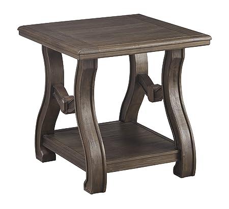 Ashley Furniture Signature Design – Tanobay Traditional Square End Table – Gray