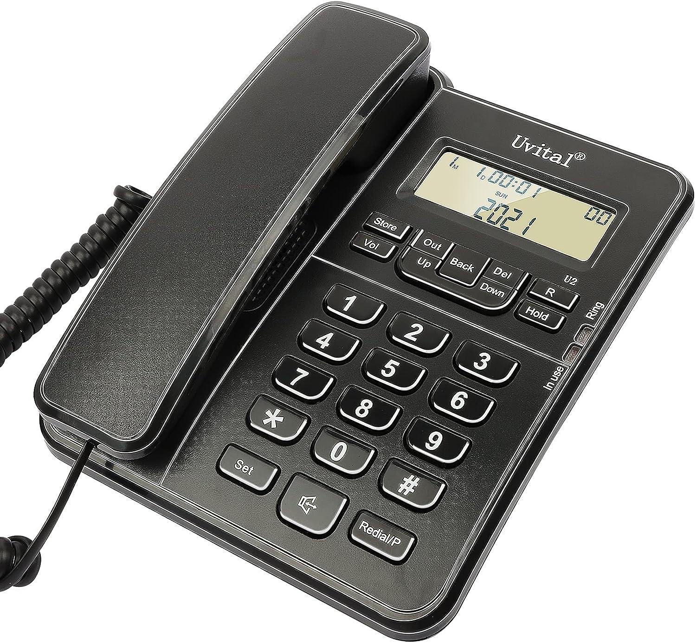 Desktop Corded Telephone, Wired Landline Phone for Home/Hotel/Office, Ringer Volume and Speakerphone Volume Adjuatale, Hold Function, Caller Dentification, Black