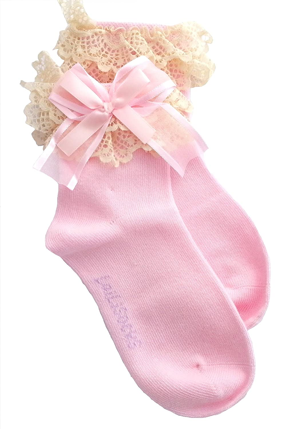 Baby/Girl Pack of 2 Super Soft Lace Frilly PINK Ankle Socks Age 1 2 3 4 5 6 7 8 9 10