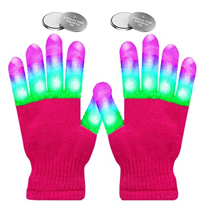 eboozone LED Gloves, Finger Lights Toys with Lights Rave Gloves for Party, for Kids (Pink, Adult&Teen): Toys & Games