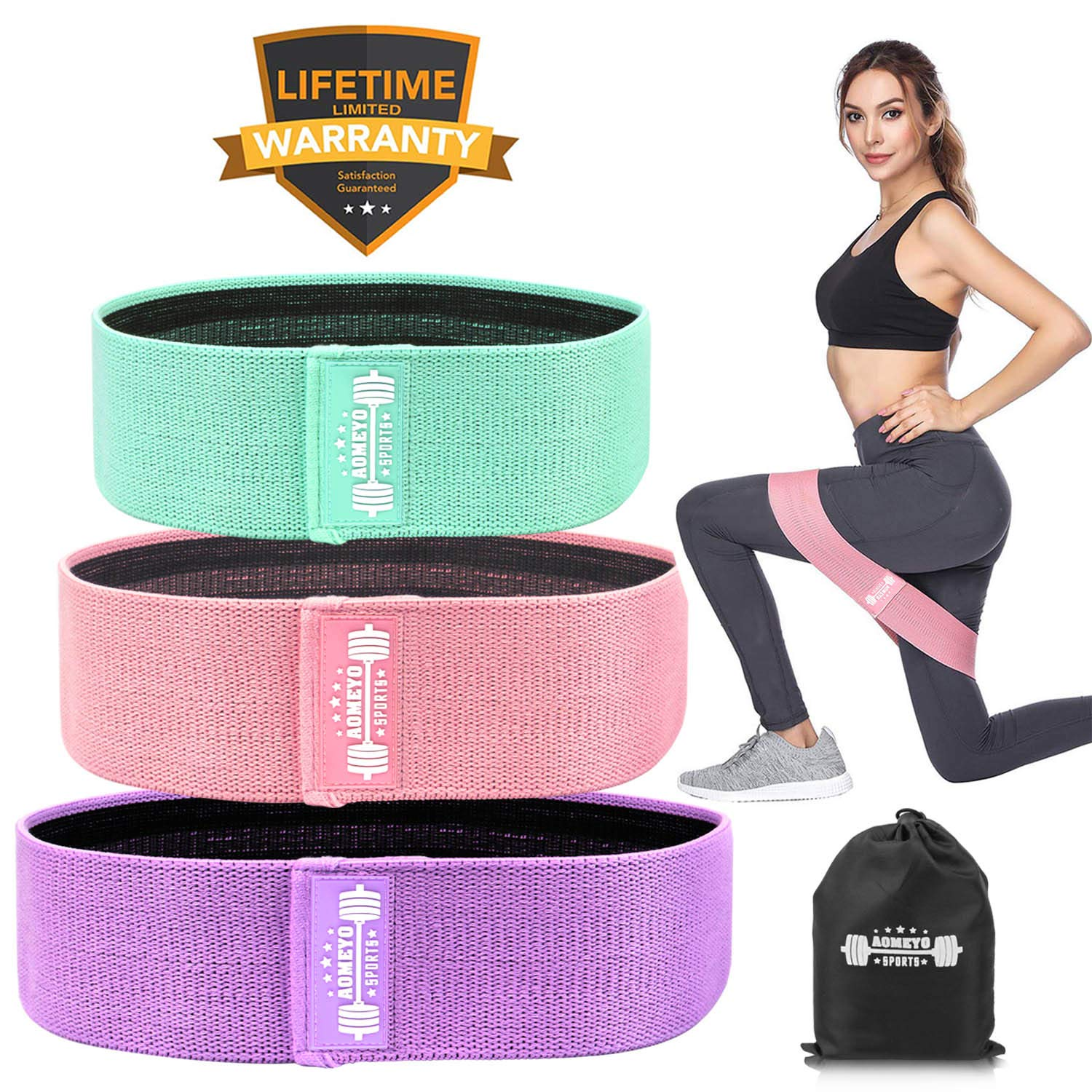Resistance Bands for Legs and Butt,Exercise Bands Booty Bands Loop Bands Hip Bands for Women and Men, Glute or Squat Workout Wide Stretching Gym Bands for Physical Therapy (Life-Time Warranty)