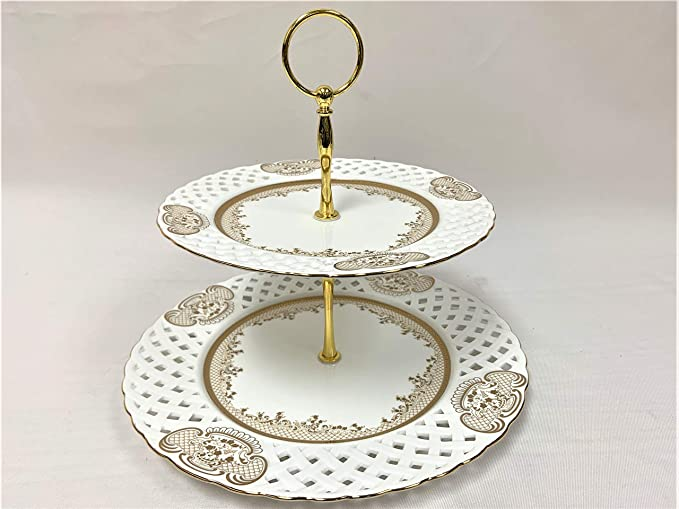 Details about  /Two Tier Shell Cake Stand