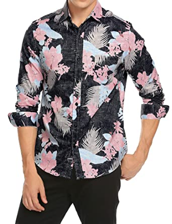 2431e4a09 JINIDU Men s Long Sleeve Tropical Floral Print Hawaiian Aloha Shirt Casual  Button Down Shirts