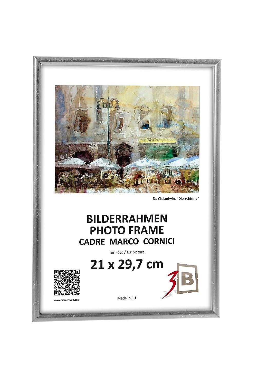 Amazon.de: 3-B Set 3 Stk. - Bilderrahmen Foto - 15x21 cm - Silber ...
