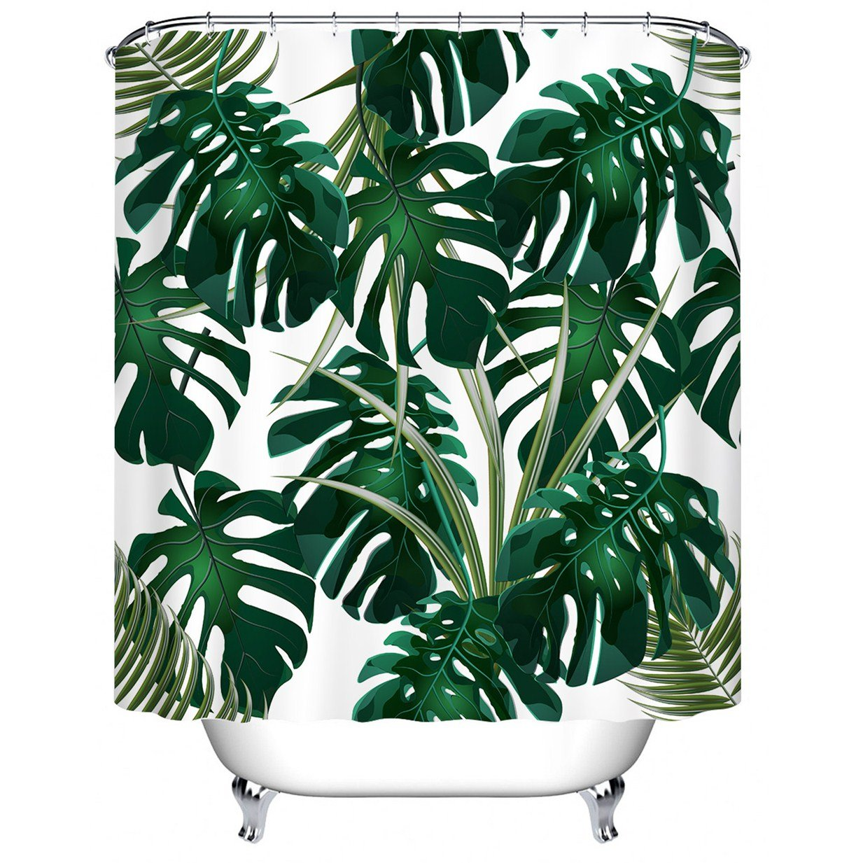 LB Monstera Shower Curtain,Dark Green Tropical Palm Leaves Waterproof Bath Curtain for Bathroom Decor,12pcs Hooks Included,70x70INCH(White) YL6937-180