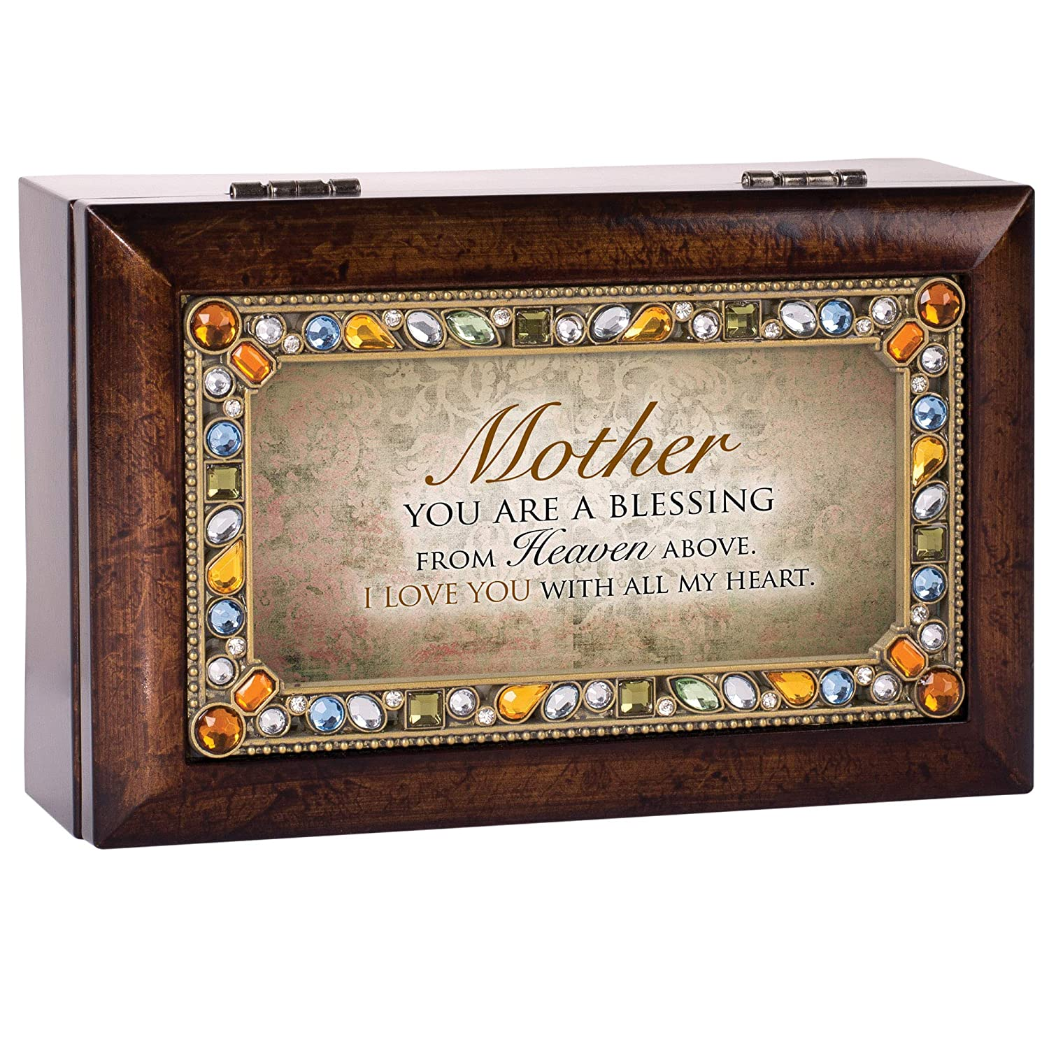 Cottage Garden Mother Blessing Heaven Amber Earth Tone Jeweled Petite Music Box Plays Amazing Grace